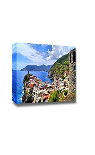 """Canvas Prints Wall Art - Beautiful Scenery/Landscape View Over the Cinque Terre Village of Vernazza, Italy from the Ancient Watchtower 