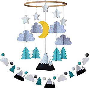 Baby Crib Mobile by Sorrel + Fern- Starry Woodland Night Nursery Decoration | Crib Mobile for Boys and Girls (Mint)