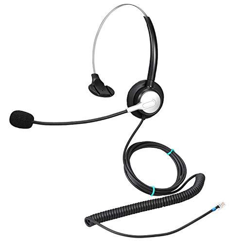 Ymate - Auriculares de Diadema con micrófono RJ11 para teléfono con cancelación de Ruido Compatible con Cisco 7975 6921 8841 8851 8941 8945 9951 9971 Plantronics M10 M12 M22 MX10