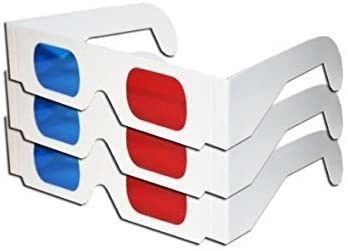 Red & Blue White Cardboard Glasses (3 Pairs) MADE IN US