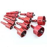 ホールソー ホルソー セット バイメタルホールソー 穴あけ ボアビット ドリル 木工 工具 ドリルビット (15本HSS(16-53mm))