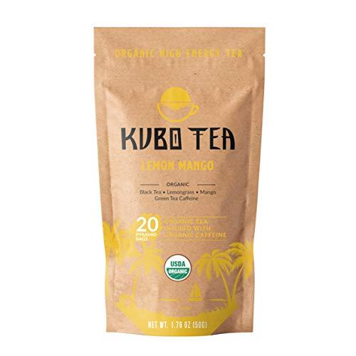 Kubo Tea, Organic High Energy, High Caffeine Blend, 20 Servings (155mg Caffeine each), Pyramid Tea Bags, Kraft Packaging, Brew Hot or Iced, Healthy Coffee Substitute- Lemon Mango Black Tea