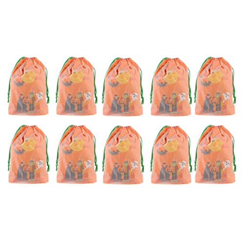 UKCOCO 10Pcs Sacos de Doces de Halloween Sacos de Doces de Halloween Com Cordão Sacos de Doces Ou Travessuras de Abóbora para Crianças Suprimentos de Festa de Halloween Favor