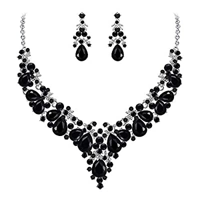 EVER FAITH Women's Crystal Prom Cluster Teardrop Statement Necklace Earrings Set Blue Silver-Tone
