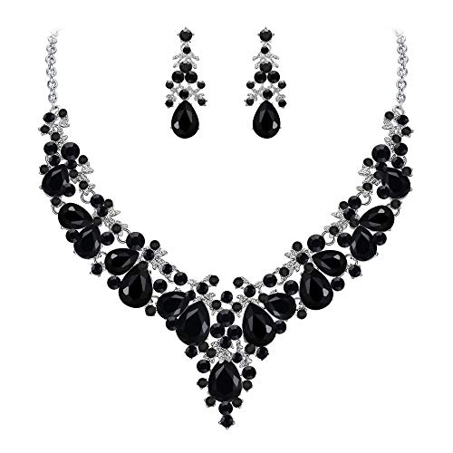 EVER FAITH Women's Crystal Bridal Floral Cluster Teardrop Necklace Earrings Set Clear Silver-Tone