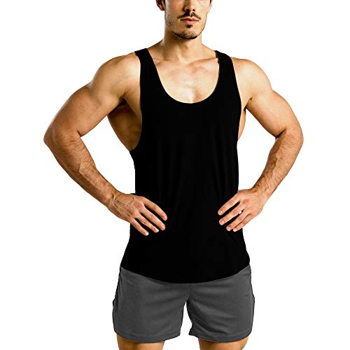 Men's Solid Color Basic Muscle Gym Workout Tank Top Extreme Racer Y Back Fitness Vest Shirt Black L
