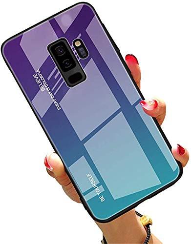 LPZOOOM Hülle für Samsung Galaxy S9 Gradient 9H Gehärtetes Glas Handyhülle mit Hybrid TPU Rahmen Case Cover Tasche Schale Samsung Galaxy S9 Plus Ultra Dünn Kratzfeste Handy Schutzhülle für Galaxy S9