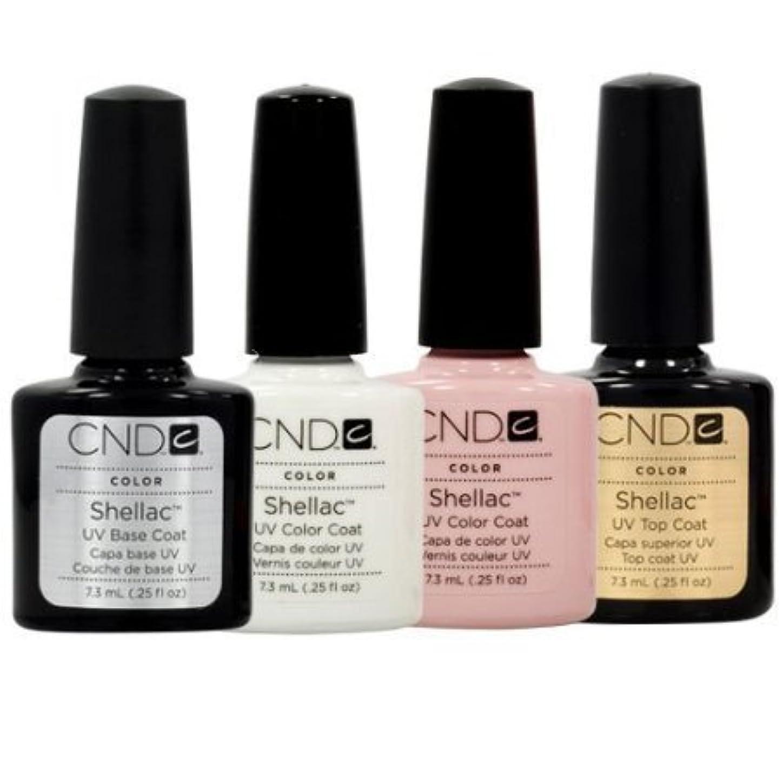 自伝好きである生まれCND Shellac French Manicure Kit Base Top Coat Color White Pink Nail Polish Gel by CND - Creative Nail Design [並行輸入品]