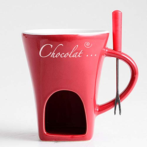 AIPZDJ Ceramic Chocolate Cheese Fondue Set with A Fork Chocolate Fountains for Kitchen Birthday Present Gift Xmas Christmas Wedding Party,Red