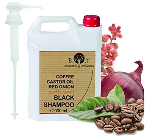 Shampoo Nero alla Caffeina, Olio di Ricino e Estratto di Cipolla Rossa Anticaduta Crescita dei capelli 2000 ml