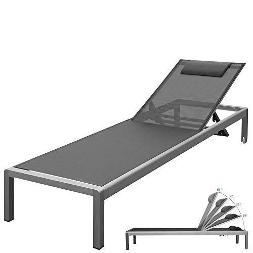 RS Trade 'Monaco XXL' Outdoor Aluminium Sonnenliege (bis 160 kg belastbar) mit reißfester Textil Bespannung und 5-Fach Verstellbarer Lehne und Rollen, Alu Gartenliege inkl. Nackenrolle, Bezug: Grau