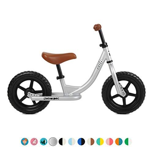 Retrospec Cub Balance Bike No Pedal Kids Bicycle, Silver