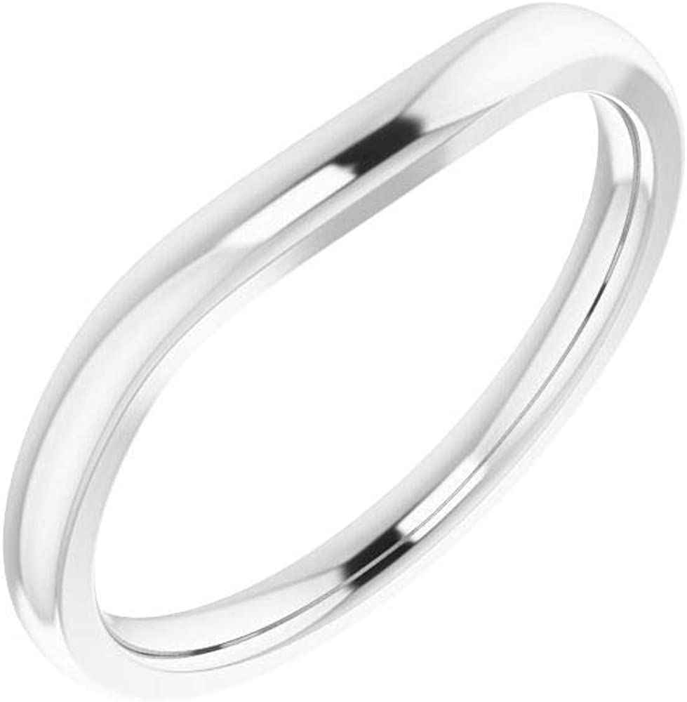 Solid Platinum Matching Curved Notched Wedding Band for 12mm Round Ring Guard Enhancer - Size 7