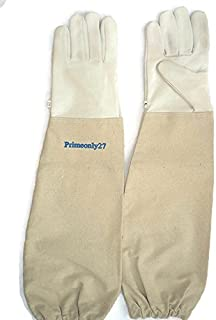 Primeonly27 Goat skin leather gloves with canvas cuff (Small)