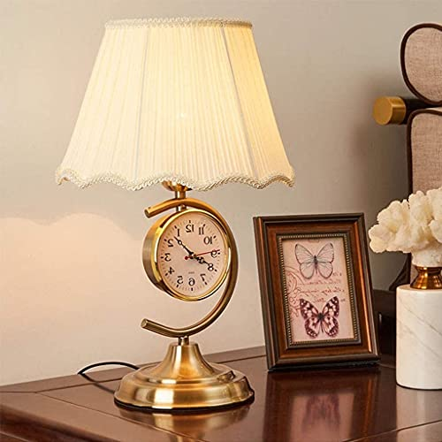 IOUYRRN Lámpara de Escritorio Retro con Reloj, lámpara de Noche de Dormitorio con Pantalla de Tela, lámpara de Lectura de cabecera para Sala de Estar (Color: Beige) (Color : Beige)