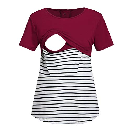 T-Shirt de La Allaitement, Solike Vêtement de Maternité Grossesse Rayure Tops de Maternité à Manches Courte Enceinte Femme Maternité Tee Shirt de Grossesse (L, Rouge)