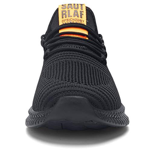 Kefuwu Zapatos de Running para Hombre Transpirables Aire Libre y Deportes Correr Asfalto Casual para Deportivas de Malla(Negro Naranja 41)
