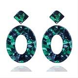 Pendientes Geometría navideña Pendientes cuadrados de concha Pendientes de resina acrílica para mujer Pendientesverdes