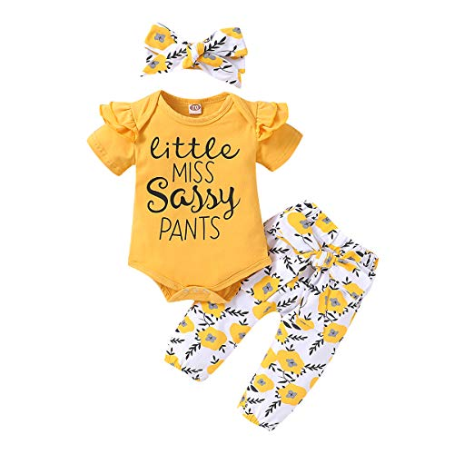 Infant Baby Girl Clothes Little Sassy Outfits Romper Bodysuit Floral Pants Baby Girl Summer Spring Clothing Outfit Sets 0-3 Months