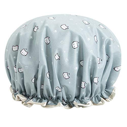 Deng Xuna Bonnets de Douche, Bonnet de Douche PEVA Shampoo Cap Double Couche Imperméable pour Filles et Femmes (Bleu b)