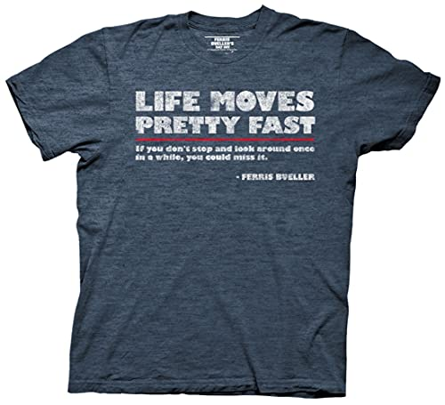 Ripple Junction Ferris Bueller's Day Off Life Moves Quote Adult T-Shirt 3XL Heather Navy