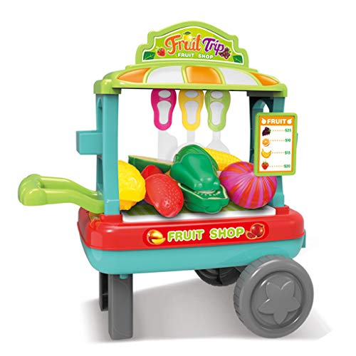 LBZJD Carro Juego Puzzle Casa Barbacoa Dulces Vegetal Helado Simulación del Rompecabezas Caja del Carro De Juguete De Regalo Regalo De Supermercado Infantil,Green Fruit