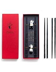HauSun Panda - Juego de palillos de cerámica con forma de bambú, reutilizables, estilo chino, color negro y elegante, estilo clásico, en caja de regalo (2 pares)