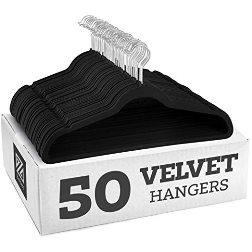 Zober Non-Slip Velvet Hangers - Suit Hangers (50-pack) Ultra Thin Space Saving 360 Degree Swivel Hook Strong and Durable Clothes Hangers Hold Up-To 10...