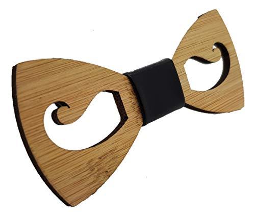 VIKINGS Noeud Papillon en bois Woody, Fliege Woody Klein:Moustache