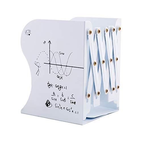 Mentin - Fermalibri in metallo, estensibile, regolabile, antiscivolo, per libreria scolastica, biblioteca, biblioteca, 10 x 15 x 19 cm 10x15x19cm bianco