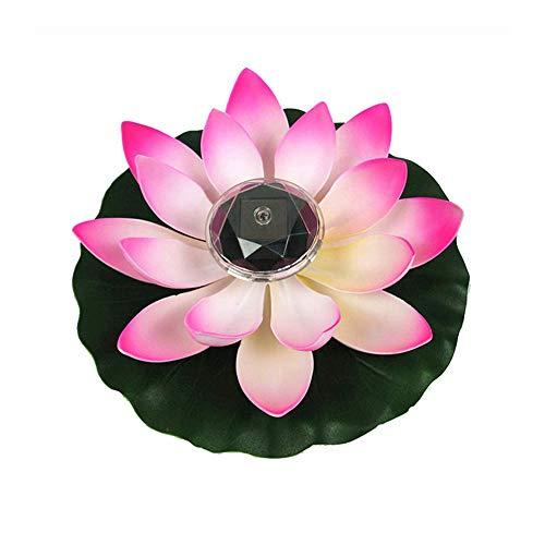 Lotus Flottants Solaire 7 Couleur Changement Diamètre 28cm Fleurs Artificielles Lumière de Piscine Romantique Etang Piscine Aquarium Décoration (Rose)