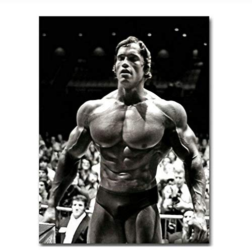 Suuyar Arnold Schwarzenegger Bodybuilding Poster Motivierende Zitat Kunst Leinwand Malerei Fitness Inspirierende Wandkunst Bild-60x90cm Kein Rahmen