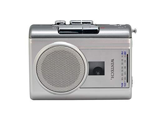 WINTECHテープレコーダー外部マイク付属/カセット再生・録音対応/AM,FMラジオ機能付/FMワイドバンド対応シルバーPCT-02RM