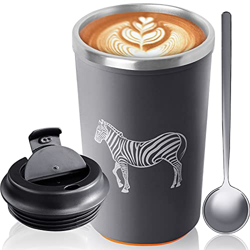 Mahomme Suction Mug Grey Coffee Tumbler 12 oz No Spill Stainless Steel Cup Double Layer with Mix Spoon