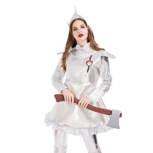 UYZ Vestido de Mujer Disfraz de Fiesta de Carnaval de Halloween Nueva Falda de Hombre de hojalata con Estampado de corazón mecánico Disfraz de Rey de Cuento de Hadas de Oz, para Disfraces de fie