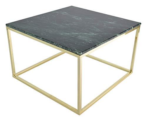RGE Accent Rechteckiger Couchtisch Marmor und pulverbeschichtetem Stahlrahmen im modernen klassischen Stil, bis zu 15 kg Belastbarkeit, Grün mit glänzendem Gold, B, H 48 cm, T 75 cm