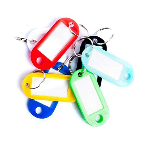 Ruluti 50pcs Key Tags with Ring, Plastic Key Tags Key Labels Key Fobs Labels Id Keyring Tags, for Luggage Pet Name (random Color)