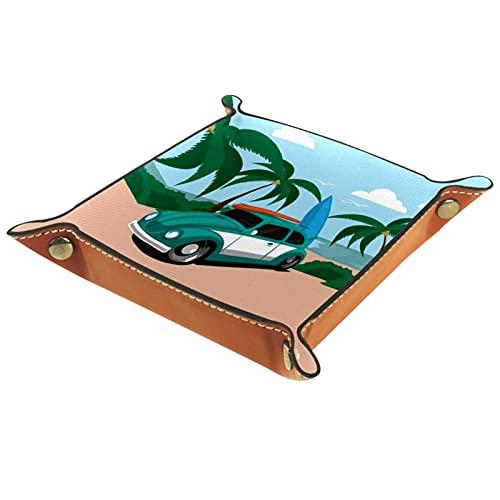 AITAI Bandeja de valet de cuero vegano, organizador de mesita de noche, placa de almacenamiento para el coche, estilo vintage