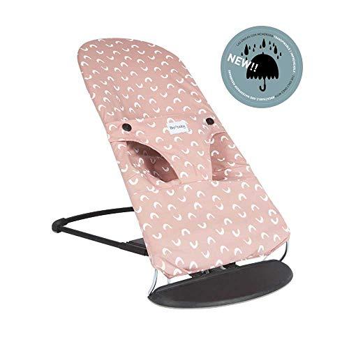 BAOBABS BCN - Funda para Hamaca Babybjörn Impermeable, Transpirable y Muy Cómoda | Funda de Tela para Babybjorn Bliss | Lavado Fácil - Máxima Calidad | Hecha en España | Estampado Pink & White Waves