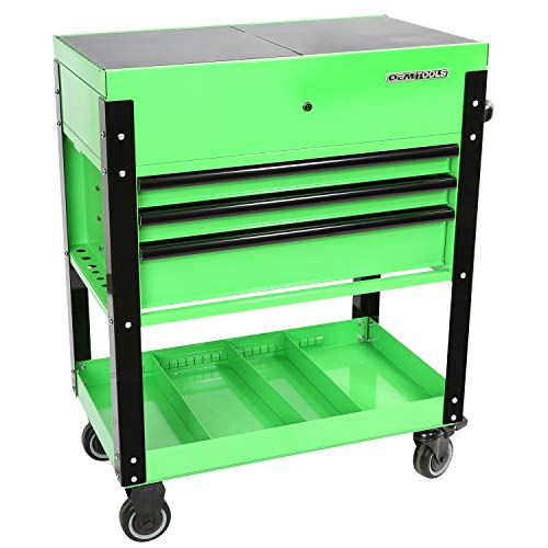 OEMTOOLS 24731 3-Drawer Slide Top Tool Cart | Portable Tool Cart: Organize, Store, Secure Your Tools | Slide-Top Compartment for Easy Access | Quick-Lock Drawers | Heavy Duty Casters | Matte Green