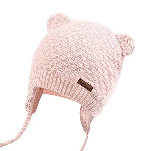 JOYORUN Unisex - Baby Mütze Beanie Strickmütze Unifarbe Wintermütze Rosa 47-50cm (Hersteller Größe: L)