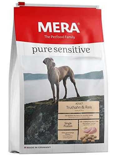 Mera pure sensitive volwassenen kalkoen en rijst hondenvoer – droog voedsel voor de dagelijkse voeding van voedingsrijke honden, Trukoen, rijst, 12,5kg