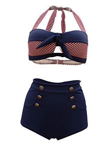 Viloree Retro Damen Badeanzug Bademode Hohe Taillen 2 Pieces Bikini Set Sailor Look M