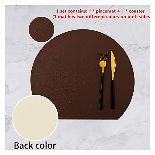 Geschirr Pad Tischset Set Halbkreis Wärme Lnsulation Non-Slip Leder Esstisch Mat Set Bicolor Cup Coaster Küche (Farbe : Coffee White)