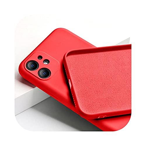Funda de silicona líquida para iPhone 11 12 mini Pro Max 7 8 6 6S Plus XR X XS MAX SE funda de silicona líquida-rojo para iPhone 12 mini
