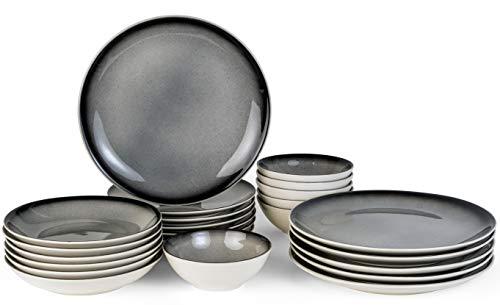 Bonsoo Geschirrset 24-teilig aus Porzellan für 6 Personen | Tiefe Suppenteller, Flache Essteller, Dessertteller und Schüsseln | Hochwertiges modernes Vintage Tafelservice Kombiservice | Grau-Schwarz