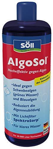 Söll 12275 AlgoSol Teichpflege gegen Algen im Teich 1 l - hocheffektives Teichpflegemittel Algenmittel mit Lichtfilter gegen Teichalgen Schwebealgen Blaualgen 1l für 20.000 liter rot