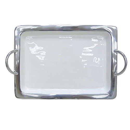 Better & Best 1931182 – Plateau en Aluminium émaillé rectangulaire, Moyenne, avec poignées et Bordure Lisse argenté, Blanc