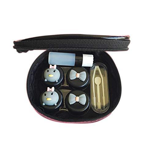 Fablcrew. Portable Contact Lens Cases Reiseetui für Kontaktlinsen mit Spiegel (schwarz)