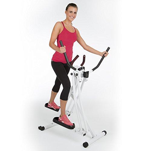 VITALmaxx Trainingsgerät Air Walker   Idealer Crosstrainer für Cardiotraining   Trainingscomputerfür Zeit, Kalorienverbrauch und Strecke   Platzsparend zusammenklappbar [Weiß]